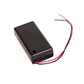 AA2 Battery Holder With Switch - Leren